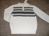 Gymboree Boys Kids Ivory Brown Blue Zip Sweater Size Small 5 6 years NWT NEW