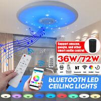 72W bluetooth Speaker LED Music Starry Sky Ceiling Lamp Remote Control RGB Light