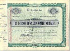 Denison Township Water Company Stock Certificate Pennsylvania
