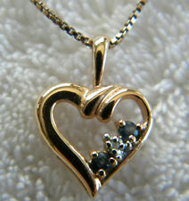 """18""""Box Chain Sterling Silver 925 Necklace and 925 Heart Pendant Gold Vermeil"""