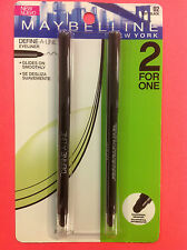 MAYBELLINE DEFINE-A-LINE EYELINER SOFT BLACK #02 DUO PACK ( 2 FOR 1 ) NEW .