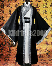 China HanFu Kimono Men's Festival Black/Sliver Cotten Robe CustomMade
