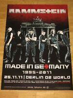 """RAMMSTEIN KONZERT POSTER 2011 BERLIN O2 WORLD """"MADE IN GERMANY"""" ORIGINAL PLAKAT"""