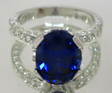 18K WHITE GOLD OVAL CUT SAPPHIRE AND DIAMOND RING PAVE SET ART DECO 2.95CT