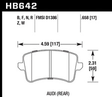 Hawk Disc Brake Pad-Premium Plus Rear for Audi A4 / A5 / Q5 / S5 # HB642B.658