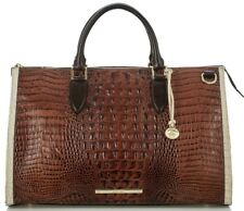 ❤️BRAHMIN ANYWHERE WEEKENDER PECAN TRI DUFFEL TRAVEL BAG LUGGAGE CROC LEATHER❤️