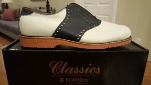 Vintage Footjoy Classics Casual Walker Mens Shoes 78444 NEW Wh/Blue 10.5D USA