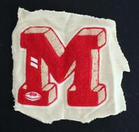 "VINTAGE 1960'S-1970'S SCHOOL SWEATER RED AND WHITE PATCH 8 1/2"" X 8"""