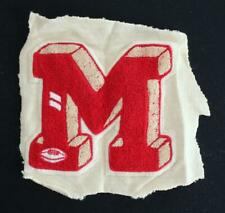 """VINTAGE 1960'S-1970'S SCHOOL SWEATER RED AND WHITE PATCH 8 1/2"""" X 8"""""""