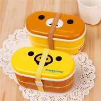 2 Layer Plastic Storage Cartoon Lunchbox Bento Food Container Japanese Style Set