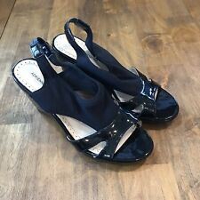 "Adrienne Vittadini ""Coralee"" Black Patent Platform Wedge Sandals. Black,  8"