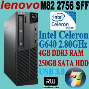 LENOVO M82 ThinkCentre 2756 SFF Celeron G640 2.8GHZ 4GB 250GB DVDRW PC WIN-7+COA