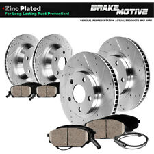 Front+Rear Drill Slot Brake Rotors & Ceramic Pads For Mercedes CL550 S350 SL550