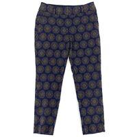 Ann Taylor Loft Womens Julie Skinny Cropped Trousers Pants Size 4 Blue Medallion
