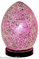 Mosaic MINI Glass Egg Lamp - PINK Bedroom/Table Light