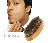 Natural Boar Bristle Beard Brush Moustache Wood Round Handle Mens Beard Brush