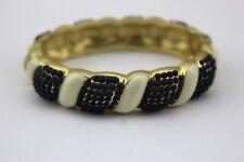 BANANA REPUBLIC Blue White Enamel Gold Tone Hinged Bangle Bracelet Signed New