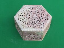 Marble Jewelry Box Carving Stone Handicraft Floral Design Home Decor for Gift