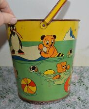 Large Vintage Ohio Art Company sand pail Artic Penguins Polar Bears Seals