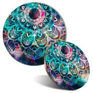 Mouse Mat & Coaster Set - Blue Teal Abstract Mandala  #2711