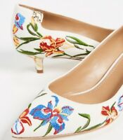 $298 NEW Tory Burch ELIZABETH 40 Embroidered Pumps Heels Blue White Shoes 8