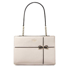Kate Spade CHERRY STREET Small PHOEBE Cement Black Bow Leather - Authentic - New