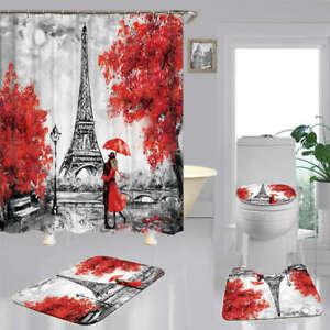 Art Paris Tower Bath Mat Toilet Cover Rugs Shower Curtain Bathroom Decor