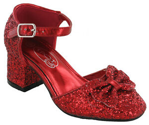 Glitter Bow Mary Jane Party Bridesmaids Wedding Shoes Girls Sandals Low Heels