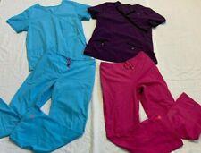 New listing Womens Scar Scrubs Lot/4, Medium Mix & Match Tops and bottoms Purple, Pink, Blue