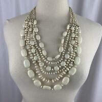 Cream Plastic Multi Strand Statement Necklace Vintage Gold Tone Beaded Layered
