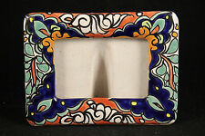 Mexican Ceramic/Pottery Picture Frame Hand Painted Folk Art Mexico Rectangle