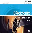 3 Sets D'Addario EJ11 Acoustic Guitar Strings 80 20 Bronze Light Gauge 12-53