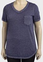 Faded Glory t-shirt top plus size 18/20 22/24 28/30 32/34 blue space dye pocket