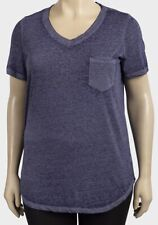 Faded Glory t-shirt top plus size 18/20 22/24 28/30 32/34 blue space dye pocket
