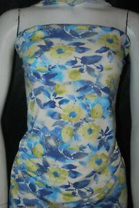 Viscose Spandex Jersey Knit Fabric 10oz Aquarella Floral Design made in france