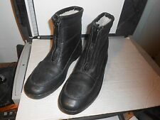 Original BATES FLOATERS Mens Black Leather Wool Lined Boots Front Zip Size US 10