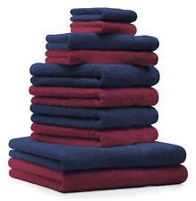 10-tlg. Handtuch Set Classic - Premium, Farbe: Dunkelrot & Dunkelblau, 2 Seiftüc