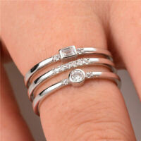 Fashion 925 silver jewelry white sapphire wedding ring for women size 6-10