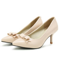 Women's Pointed Toe Bow Patent Leather Kitten Heel Party Dress Work Pumps Shoes