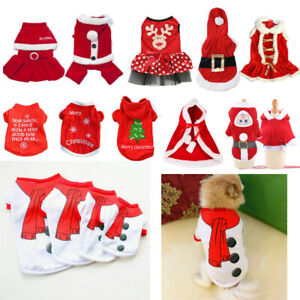 Puppy Clothes Jacket Warm Dog Santa Christmas Shirt Apparel Coat Pet Costumes