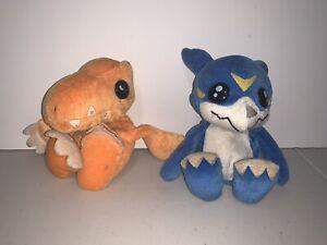 "Agumon Veemon Digimon Plush 6"" Bean Bag Bandai Digi Pals Used"