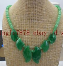 100% 6mm Natural Green Jade Gemstone Beads Pendant Necklace 18'' AAA