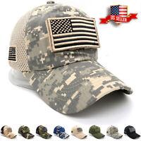 Baseball Cap USA Flag American Mens Hat Detachable Patch Mesh Tactical Army Caps