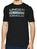 NWT Mens Under Armour Team Wordmark Heatgear Workout Gym Shirt Black Large Tee