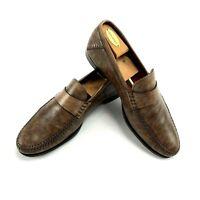Santoni Men Dark Brown Penny Loafer Dress Shoes 10.5D Museum Calfskin Leather