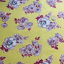 "Vintage Full Feed Sack Aqua & White Floral on Yellow w/Maroon Accents 48"" x 37"""