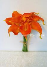 """Sweet Home Deco Latex Real Touch 15"""" Artificial Calla Lily 10 Stems Bouquet"""