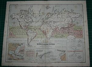 1877 ANTIQUE MAP ~ THE WORLD DISTRIBUTION OF WINDS STORMS HURRICANES RODRIGUEZ