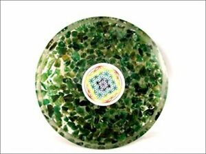 Green Mica Orgone Tea Coaster Flower of Life Round 40 Page Booklet