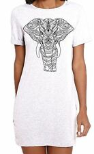Tribal Indian Elephant Tattoo Large Print Women's T-Shirt Dress - Elephants